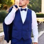 Costume homme Enzo détail veston et chemise Lya Création