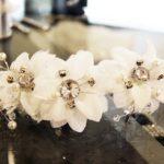 Pince fleurs brodées strass et perles Lya Création