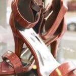 Chaussures à talon rose avec texture holographique Lya Création