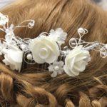 Bijoux de cheveux branche de fleurs brodées Lya Création